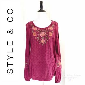 Style & Co Embroidered Knit Blouse